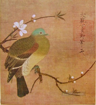 Zhao Ji Song Huizong Painting - pigeon on a peach branch 1108 old China ink