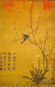 Zhao Ji Song Huizong Painting - plum and birds old China ink