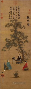 Zhao Ji Song Huizong Painting - listening to the qin old China ink