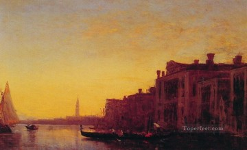 seascape mediterranean sea venice boat ship waterscape Painting - Grand Canal Venice boat Barbizon Felix Ziem