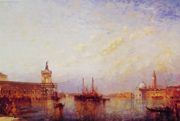 seascape mediterranean sea venice boat ship waterscape Painting - Glory of Venice boat Barbizon Felix Ziem