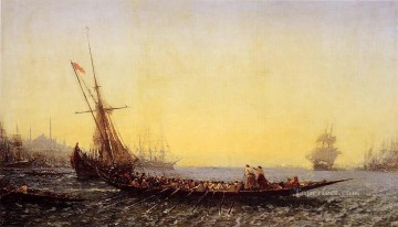 Constant Canvas - Harbour In Constantinople boat Barbizon Felix Ziem