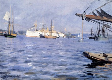 Battles Art Painting - The Battleship baltimore In Stockholm Harbor Anders Zorn