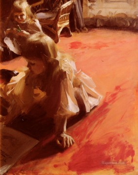 equestrian portrait of maria luisa of parma Painting - A Portrait Of The Daughters Of Ramon Subercasseaux Anders Zorn