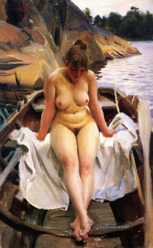 Row Painting - I Werners Eka IN Werners Rowing Boat Anders Zorn