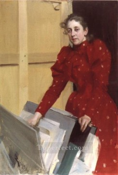 Portrait of Emma Zorn in the Paris studio foremost Sweden Anders Zorn Oil Paintings
