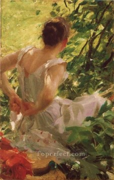 Dress Painting - Woman dressing foremost Sweden Anders Zorn