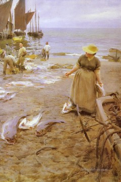 Fiskmarknad I St Ives foremost Sweden Anders Zorn Oil Paintings