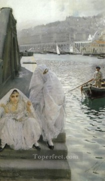 Harbour Painting - In the harbour of Algiers foremost Sweden Anders Zorn
