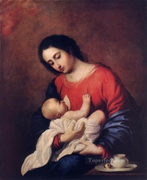 child Painting - Madonna with Child Baroque Francisco Zurbaron