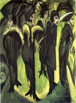 women Painting - Ernst Ludwig Kirchner Five Women on the Street