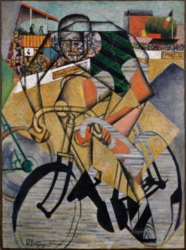 horse racing races sport Painting - Jean Metzinger The Racing Cyclist