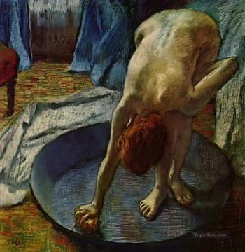 100 Great Art Painting - Edgar Degas Woman in the Bath