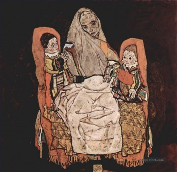 100 Great Art Painting - Egon Schiele Mother with Two Children