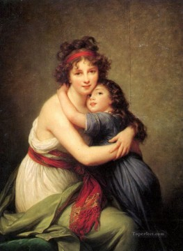 mona lisa Painting - Elisabeth Vigee Lebrun Self Portrait with Daughter