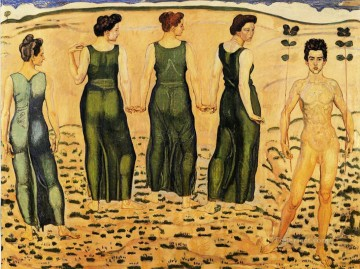 100 Great Art Painting - Ferdinand Hodler Youth Amired by the Woman