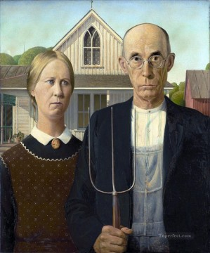 100 Great Art Painting - Grant Wood American Gothic