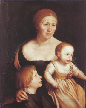 100 Great Art Painting - Hans Holbein the Younger Portrait of Mrs Holbein with the Children Katharina and Philipp