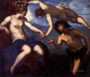 venus Painting - Jacopo Tintoretto Bacchus with Ariadne Crowned by Venus