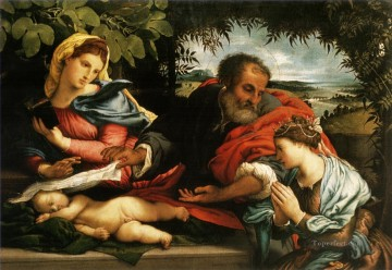 madonna Painting - Lorenzo Lotto The Sleeping Child Jesus with the Madonna St Joseph and St Catherine of Alexandria