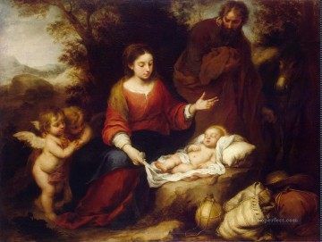 100 Great Art Painting - Bartolome Esteban Murillo Rest on the Flight to Egypt