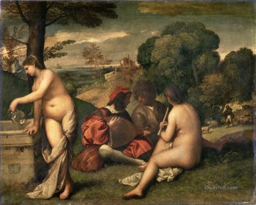 100 Great Art Painting - Giorgione or Titian Pastoral Concert