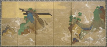 100 Great Art Painting - Tawaraya Sotatsu Waves of Matsushima