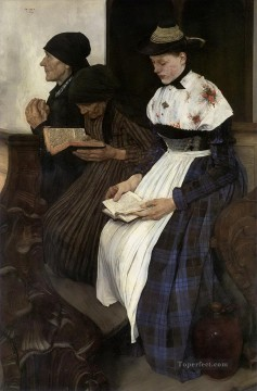 women Painting - Wilhelm Leibl Three Women in Church