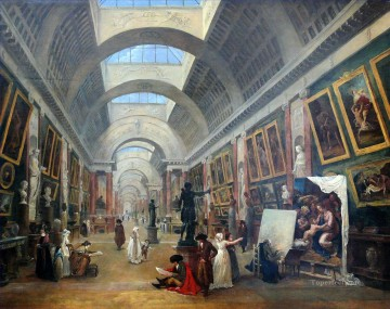 100 Great Art Painting - Hubert Robert Design for the Arrangement of the Great Gallery of the Louvre des Louvre