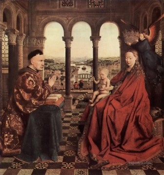 100 Great Art Painting - Jan van Eyck The Madonna of the Chancellor Rolin