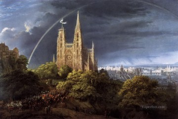 100 Great Art Painting - Karl Friedrich Schinkel Medieval City on a River