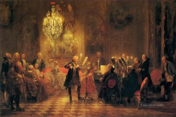 100 Great Art Painting - Adolph von Menzel The Flute Concert