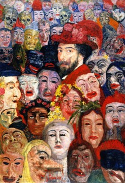 100 Great Art Painting - James Ensor Self portrait with Masks