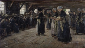 100 Great Art Painting - Max Liebermann Flachsscheuer in Laren