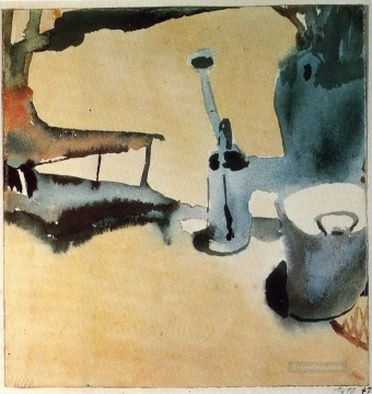 abstract Painting - Flower stand with watering can and bucket Abstract Expressionism