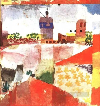 Abstract Expressionism Painting - Hammamet with mosque Abstract Expressionism