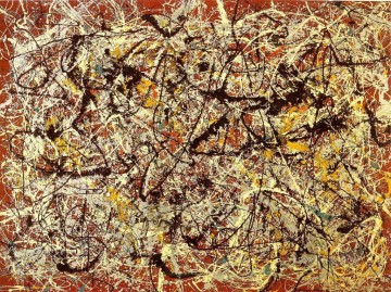 Abstract Expressionism Painting - Mural on Indian red ground Abstract Expressionism