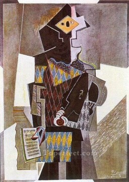 Arlequin a la guitare Si tu veux 1918 Cubism Oil Paintings