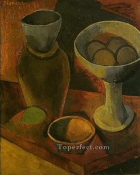 Bols et cruche 1908 Cubism Oil Paintings