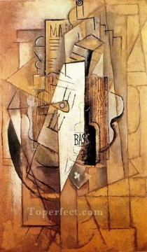 Bouteille de Bass guitare as de trefle 1912 Cubism Oil Paintings