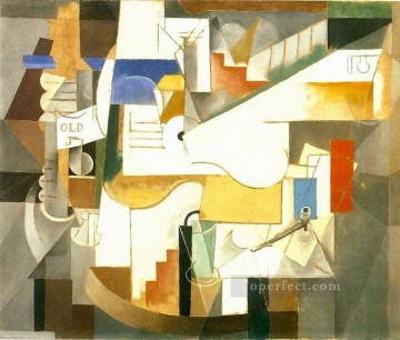 Bouteille guitare pipe 1912 Cubism Oil Paintings