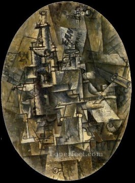 Bouteille verre fourchette 1911 Cubism Oil Paintings