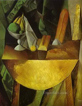 Bread and Fruit Dish on a Table 1909 Cubism Oil Paintings