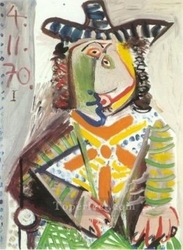 Buste d homme au chapeau 1970 Cubism Oil Paintings
