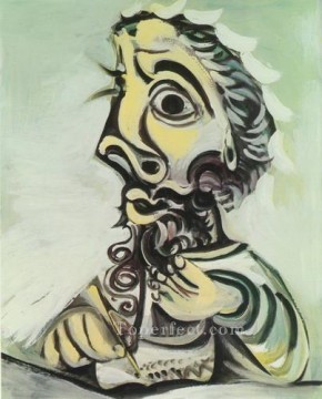 Buste d homme crivant II 1971 Cubism Oil Paintings