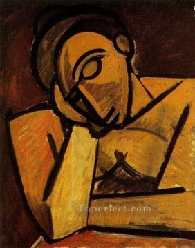 Buste de femme accoudee Femme dormant 1908 Cubism Oil Paintings