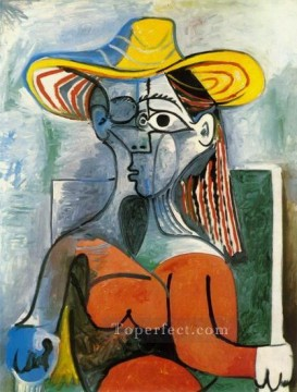 Buste de femme au chapeau 1962 Cubism Oil Paintings