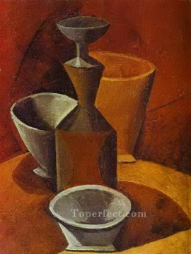 Carafe et gobelets 1908 Cubism Oil Paintings