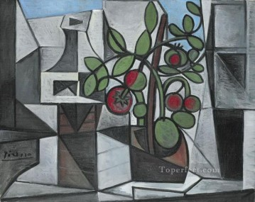 Carafe et plant de tomate 1944 Cubism Oil Paintings