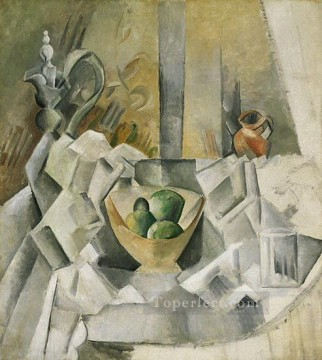 Carafon pot et compotier 1909 Cubism Oil Paintings